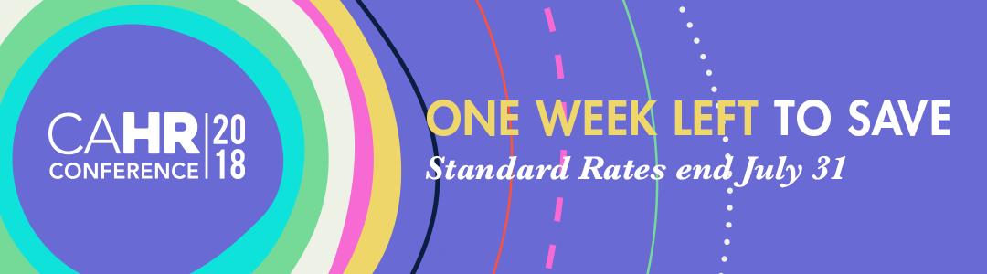 CAHR18 Standard Rates End Next Week